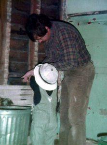 child with tradesman