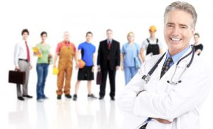 industry workers with doctor at forefront