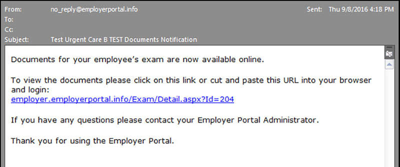 Screenshot of employer portal notification