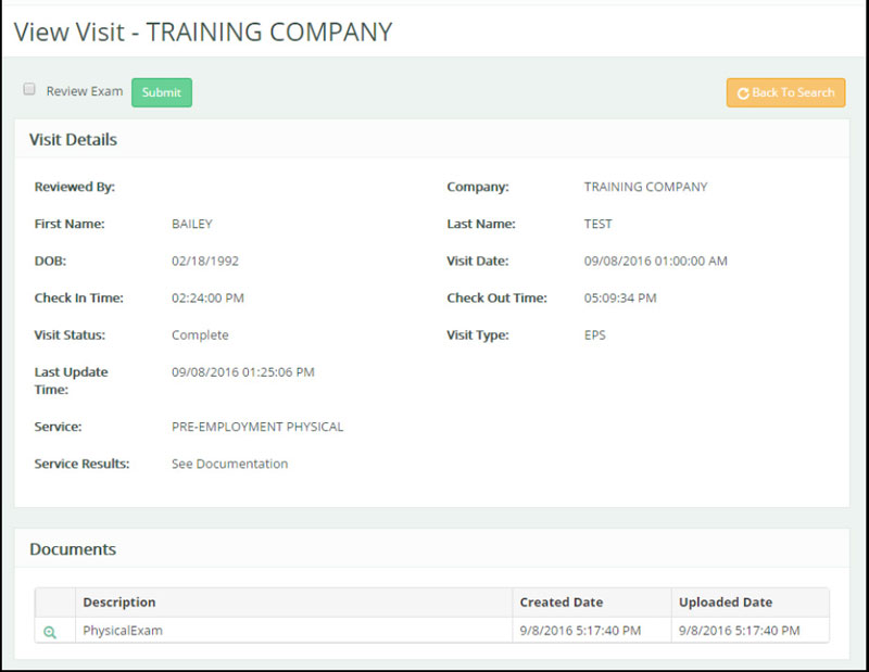 Screenshot of employer portal